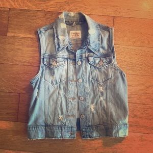 Levi's distressed denim vest